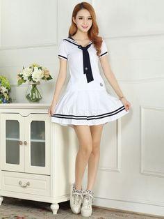 White Tie école tissu Costume uniforme - Milanoo.com