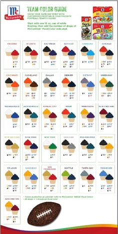 Icing colors for every NFL team! http://www.mccormick.com/Spices-and-Flavors/Extracts-and-Food-Colors/Food-Colors
