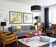 Midcentury-modern furniture carries a cool, collected vibe in this fab living room.