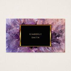 Gold purple amethyst gemstone geode. business card - stylist business cards cyo personalize businesscard diy