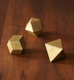 polyhedral brass paperweights by futagami via myth and symbol