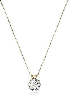 10k Gold Solitaire Swarovski Zirconia Pendant Necklace (2 cttw), 18"