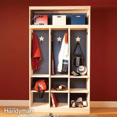 organize your entryway with a simple storage locker for jackets, shoes and other stuff that clutters that area. it's a handsome organizer that you can build in a day.