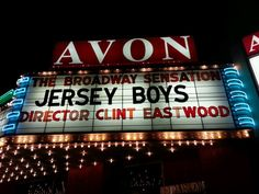 Jersey Boys on the marquee of The Avon Theater; Decatur Illinois