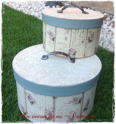 Un rincón de mi: Tutorial decorar caja de cartón redonda en estilo romántico vintage