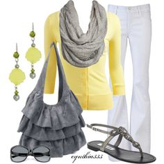 Yellow and Grey always looks so fresh!  LOVE the ruffle bag, sweet yellow cardigan, and white James Jeans!