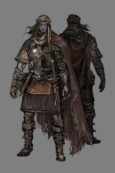 Mercenary class in Dark Souls 3. High dexterity and good with dual scimitars.