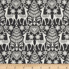 Glisten Christmas Holiday Fabric Gray Ornaments Out Of Print Premium Cotton
