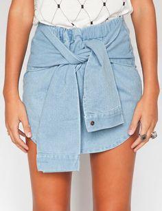 Twist tie denim skirt - Shop the latest Fashion Trends