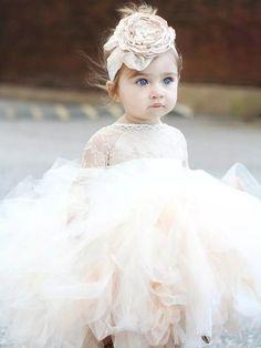 2017 Flower Girl Dresses Ball Gown Tea-length Lace Ivory Tulle JKF036