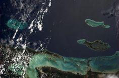 The Honduran coast seen from ISS (Alexander Gerst)
