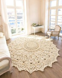rustic flooring Big crochet rug round area rug in) doily rug yarn lace mat cottage nursery carpet rustic floor decor by LaceMats Crochet Doily Rug, Crochet Rug Patterns, Crochet Carpet, Crochet Shawl, Diy Crochet, Crochet Tutorials, Doily Patterns, Cottage Nursery, Rustic Nursery