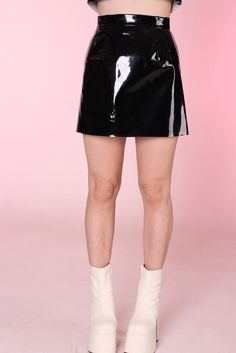 Image of Made To Order - Black PVC Skirt
