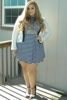 Loey Lane wearing FTF's MockNeck Stripe Jersey Dress. #PlusSizeFashion #FashionToFigure #Dresses