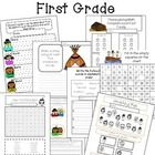 This download is for a First Grade Thanksgiving Pack that includes vocabulary, literacy, math, and