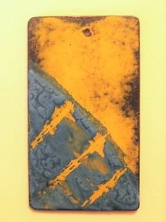 Pendant - Copper with Blue and Yellow Enamels