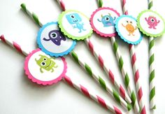 12 Monster Party Straws, Girl Monsters, First Birthday, Baby Shower, Monster Theme, Monster Birthday, Pink Monsters, Silly, Party Decor by thepartypenguin on Etsy