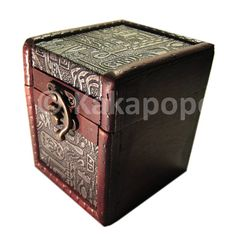 Custom designed and hand made Antique Style Wooden Deck or Dice Box. The deck boxes are designed to look like it has witnessed countless card duels over the centuries, thus showing signs of ageing, but a defiant survivor. Fits 100 double sleeved cards OR lots of dice and counters Internal Dimension: 70mm x 92mm x 65mm Overall External Dimensions: 105mm x 95mm x 85mm Made from: - Recycled Plywood - Synthetic Leather Patterns - Wood Varnish Finish Perfect for storing decks for Mtg, Yugioh…