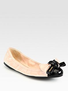 Prada Bi-Color Patent Leather Bow Ballet Flats