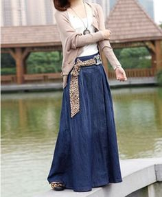 Blue maxi denim skirt from chicnova. Skip the leopard print, but otherwise, this is one of my dream outfits.