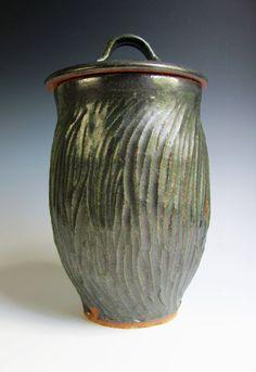 Dark Green Ceramic Jar, Ceramic Jar With Lid, Ceramic Canister, Kitchen Canister, Textured Jar, Carved Jar, Handmade, Stoneware