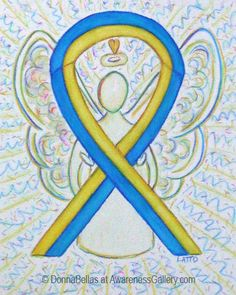 Blue and Yellow Awareness Ribbon Angel Art for Down's Syndrome
