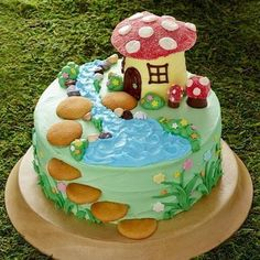 This magical creation is extra easy thanks to boxed cake mix and ready-made frosting. The roof and toadstools are made out of gumdrops, and vanilla wafer cookies make for an adorable fairy path. It works as a 13x9-inch cake, too!