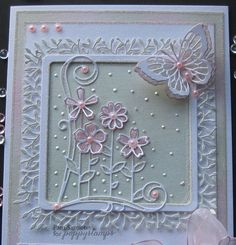 Garden Bouquet die which has been cut twice and just the flowers inlayed back in the place. Also with Woodland border.