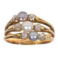 1stdibs | Victorian gold, pearl and diamond ring-classic beautiful jewelry-circa 1890