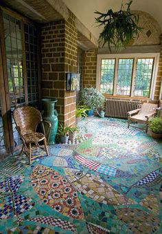 Mosaic floor- i bet this took a long time, but so cool!