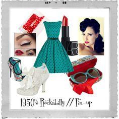 1950's // Rockabilly style #polyvore Rockabilly Style, Rockabilly Fashion, Psychobilly, 1950s, Fashion Outfits, Retro, Clothing, Polyvore, Image