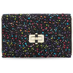 DVF Agent Karlie Confetti Tweed Zip On Clutch (10.535 RUB) ❤ liked on Polyvore featuring bags, handbags, clutches, black, dvf, dvf handbags, dvf clutches, zipper purse and tweed handbag