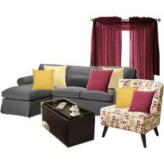 Living Room Redecoration Option 1 Grey Beige Yellow Burgundy