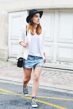 Mon été sera blanc ou ne sera pas .. et en short #white #fashionblogger #denim #ootd #lookbook #mode #girl #france #zara #tendance #look #fblogger #blogmode #denim #short #hat #summer
