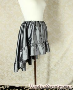 Steampunk High Low Mini Cecilia Skirt Pewter by VeneficaCorsetry