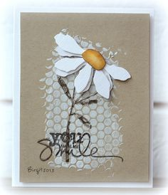 hand crafted card from Birgit ... dots stenciled on for background texture in the middle of the card ... die cut daisy top on stamped stem ... sentiment of top of that ... kraft base ... delightful ...