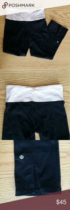 Lululemon Gather and Crow Crop Lululemon Gather and Crow Crop with light pink waistband. Cute gathering on waistband on backside, shown in picture. No tear tag, but dot says size two. No pilling! lululemon athletica Pants Capris