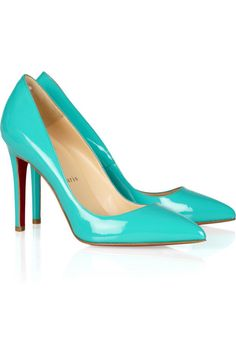 Christian Louboutin Pigalle 100 patent-leather pumps.    Love the color. via net-a-porter