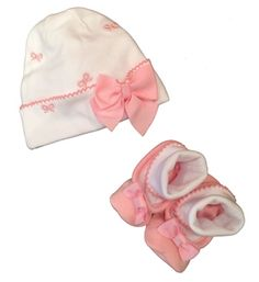 Kate Spade Baby Girls Pink Bows Beenie and Booties Gift Set