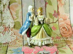 Vintage Victorian Couple Figurine Gift, Historical Couple Porcelain Figurine, Dancing Victorian Couple Figurine, Victorian Lady & Gentleman
