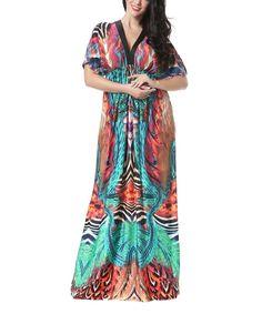 Aqua & Orange Abstract Cape-Sleeve Maxi Dress - Plus Too