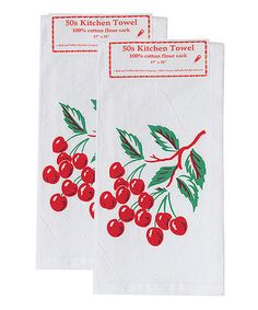 Vintage Style Cherry Tile Flour Sack Kitchen Towel - Set of Two on #zulily! #zulilyfinds
