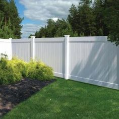 not cheap, but pretty and lasts forever -- Veranda, White Vinyl Linden Pro Privacy Fence Panel Kit (Common: 6 ft. x 8 ft;), 73013298 at The Home Depot - Mobile Backyard Privacy, Backyard Fences, Backyard Landscaping, Fenced In Backyard Ideas, Garden Privacy, Privacy Fence Panels, Privacy Fence Designs, White Vinyl Fence, White Fence