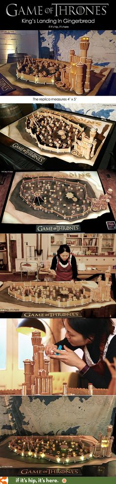 Game of Thrones King's Landing Created Entirely in Gingerbread! see and learn more at http://www.ifitshipitshere.com/tv-movie-inspired-gingerbread-houses/
