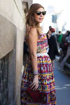Patterns #mexican #embroidered #skirt #crop #top #street #style #fashion