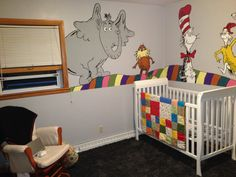 Dr. Seuss nursery mural painted by my wonderfully talented husband.