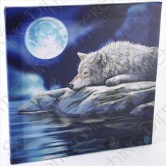 Gorgeous Lisa Parker Wall Canvas - Quiet Reflection (Wolf)