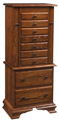 Solid wood Deluxe Jewelry Armoire with Clock Base.
