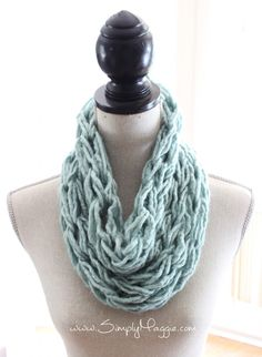 """Enjoying using our extra pieces to make a little """"gift"""" for ourselves: How to Arm Knit a Single Wrap Infinity Scarf 