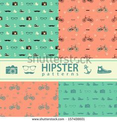 Set of four vector seamless patterns. Hipster lifestyle. by motuwe, via ShutterStock